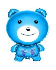 Balloons foil bear blue No2 metallic