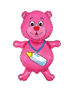 Balloons foil FLEXMETAL bear bottle pink