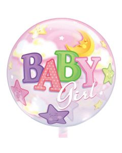 Balloon foil 18 inch Baby girl moon-star