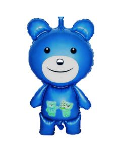 Balloons foil bear blue No1 metallic
