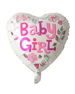 Balloon foil 18 inch heart baby girl BF packed