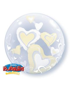 Bubble διπλό White & Ivory Floating Hearts ND