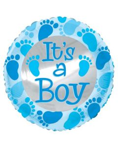 Balloon 18 inch it's a boy round shape with feet printed BF1
