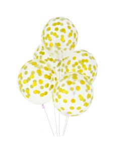 Balloons 12 inch with confetti gold 5 pcs pack