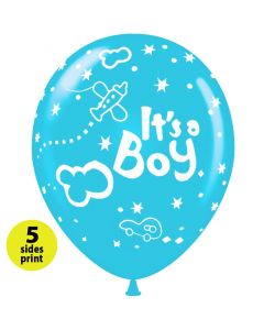 Balloons 12 inch It's a boy airplane |  100pcs  |  5 sides print