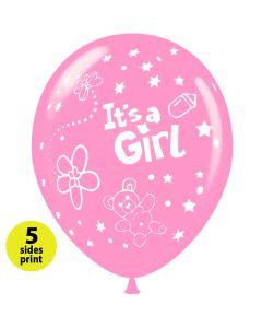 Balloons 12 inch It's a Girl little bear |  100pcs  |  5 sides print