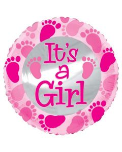 Balloon 18 inch it's a girl round shape with feet printed BF1