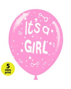 Balloons 12 inch It's a Girl (2)   |   100pcs   |   5 sides print