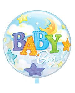 Balloon foil 18 inch Baby boy moon-star