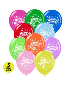 Balloons 12 inch Happy Birthday lollipop | 100 pcs | 5 sides print